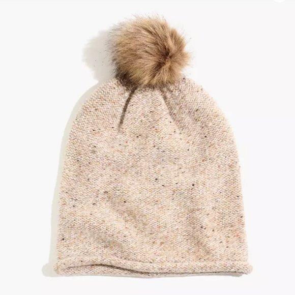 NWT Madewell Beanie Faux-Fur Pom-Pom One Size Sand